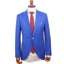 Синий однотонный пиджак с брюками, сшитый на заказ, костюм на одной пуговице, свадебные костюмы для мужчин, мужской блейзер на заказ