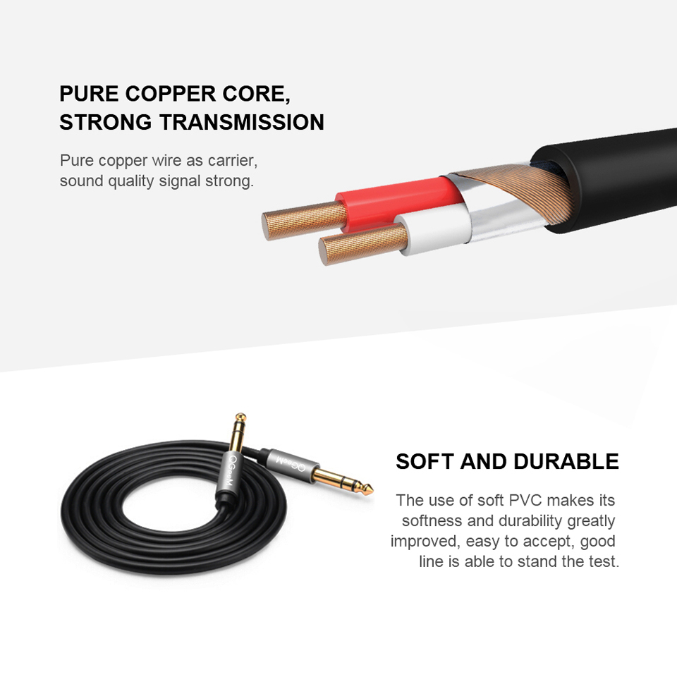 Image 5 - QGEEM 6.5mm 6.35mm Jack Audio Cable 6.35 Jack Male to Male Aux Cable 1m 2m 3m for Guitar Mixer Amplifier Bass 6.35mm Aux Cable
