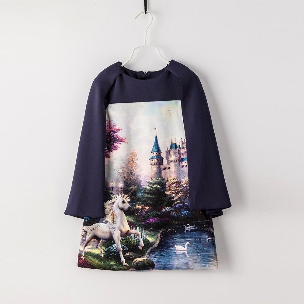 Filles robe 2019 printemps automne enfants filles robe ensembles pour fête 2 pièces cape + robe licorne imprimer filles mode costumes vêtements