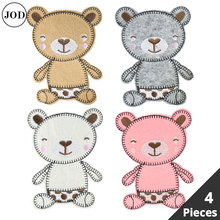 4 Pieces Set Bear Embroidery Iron on Patches for Clothing Bag Hat Scrapbooking DIY Patch Embroidered Stickers Fabric Badges