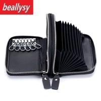 Multi Functional 100 Genuine Leather Cowhide Men Car Key Wallet Coin Purse Card Holder Bag Case