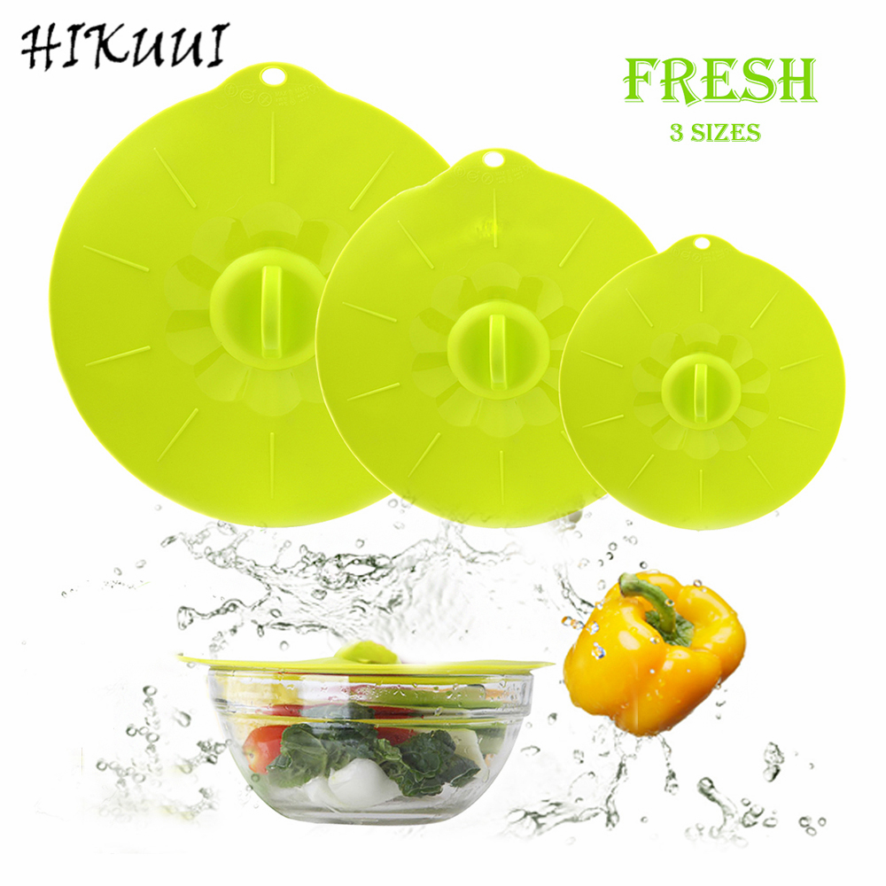 HIKUUI 3pcset Bowl Cover Microwave Lids Silicone Kitchen