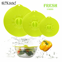 3pc/set Reusable Silicone Lid, Bowl & Cup Cover Microwave Food Fresh Lids ,Green Platinum Silicone Kitchen Cooking Tools