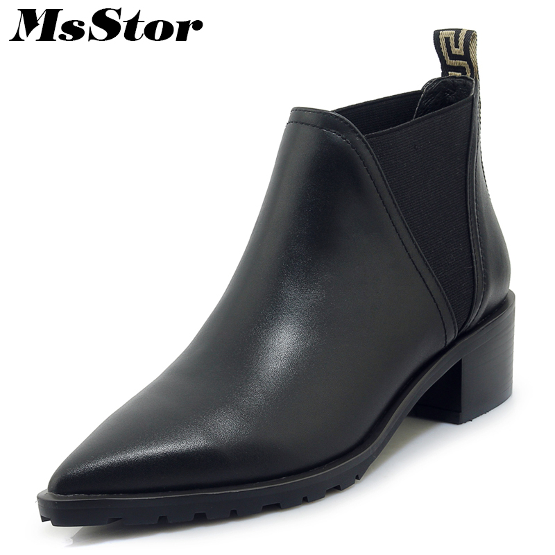 MsStor Women Boots 2018 Hot Selling Pointed Toe Med Heel Ankle Boots Women Shoes Square Heel Genuine Leather Boot Shoes For Girl msfair women boots 2018 hot selling crystal ankle boots women shoes pointed toe high heel boot shoes square heel boots for girl