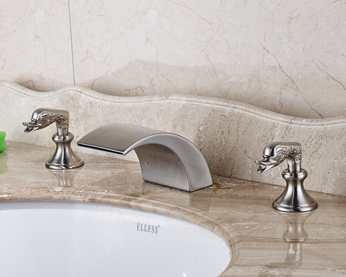 Nickel Brushed Finished Double Handles Bathroom Sink Faucet Widespread 3pcs Mixer Tap цена 2017