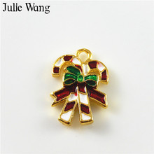 Julie Wang 10PCS Alloy Colorful Enamel Christmas Crutch Pendant Charm Bracelet Necklace Findings DIY Jewelry Making Accessories