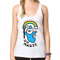 2017 Hign Quality Women Summer Tank tops fashion Magical Wizard Cat printed O-neck casual Vest lady Camisole