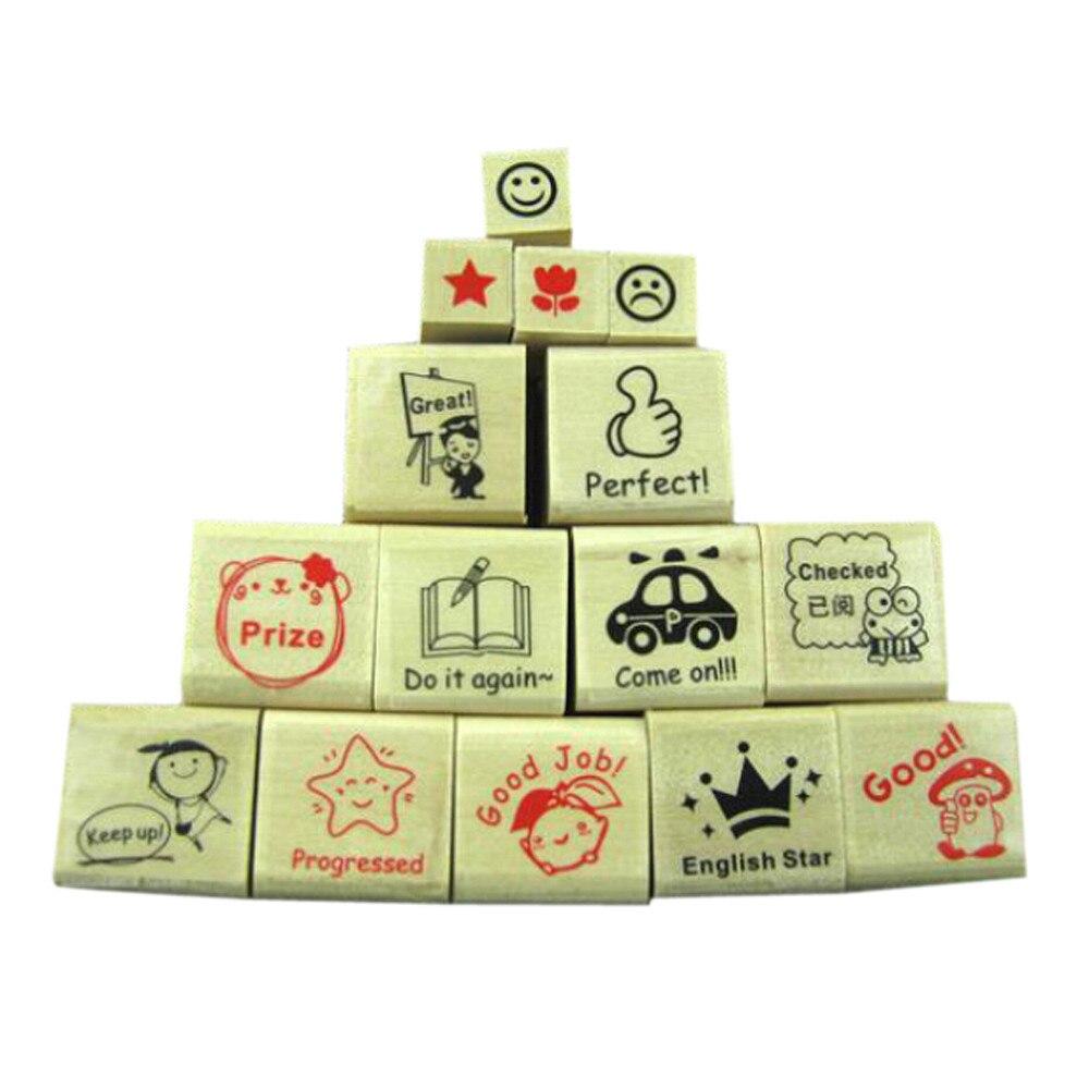15pc Teachers Stampers Self Inking Praise Reward Stamps Motivation Sticker School U71106