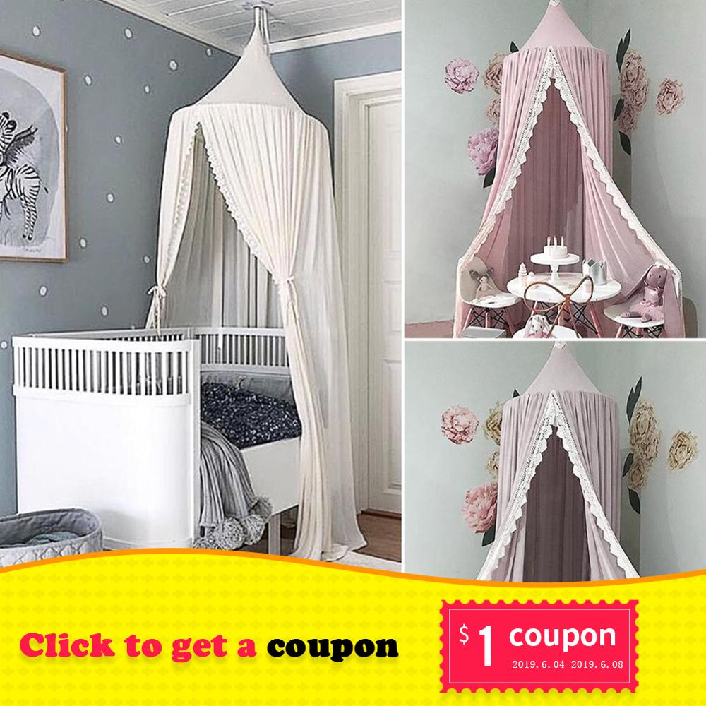Princess Style Lace Mosquito Net Round Dome Bed Canopy Cotton Linen Mosquito Net Curtain For Kids Girl Room Comfort Decoration
