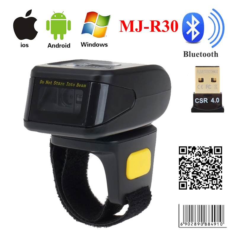 MJ-R30 Portable Bluetooth Ring 2D Scanner Cititor de coduri de bare pentru IOS Android Windows PDF417 DM QR Cod 2D Scanner fără fir