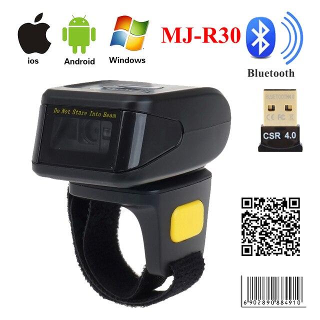 MJ-R30 Xách Tay Bluetooth Vòng 2D Scanner Đầu Đọc Mã Vạch Cho IOS Android Windows PDF417 DM Mã QR 2D Máy Quét Không Dây