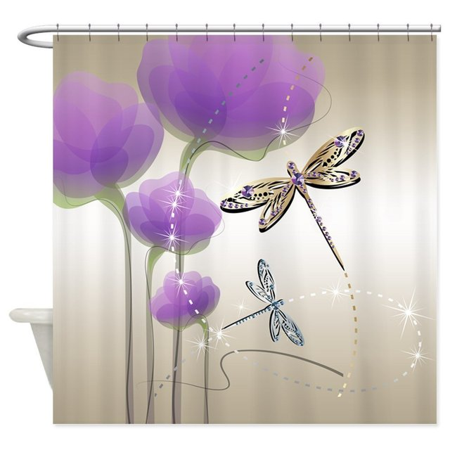Dragonflies And Purple Flowers Decorative Fabric Shower Curtain 8 Sizes For The Bathroom With