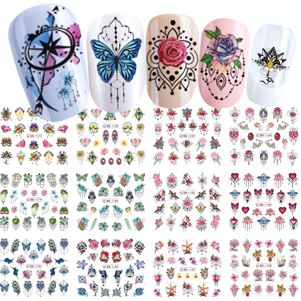 New Mix Jewelry Design Water Transfer Nail Art Sticker Decal Flower Necklace Dreamcather Watercolor Wrap Slider SABN1177-1188