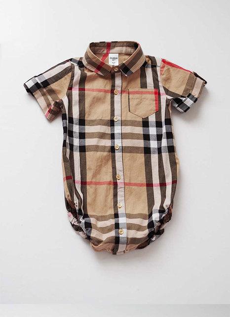 Inglés a cuadros estilo muchachas de los bebés de los mamelucos trajes de verano para babys ropa del niño mono del bebé recién nacido ropa A18