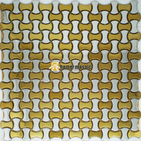 bone shape golden mixed silver color stainless steel metal mosaic tiles for living room wall bathroom shower kitchen backsplash