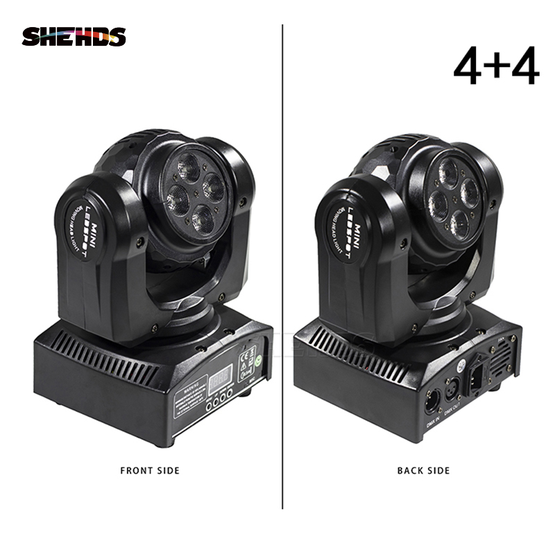 LED Wash Double Sides 4x10W+4x10 RGBW LED Stage Pattern Lamp 15/21 Channel DMX 512 Rotating Moving Head For Indoor Disco Party