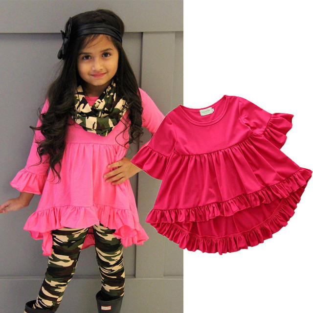 582cc1eaba6c 2018 New Summer Baby Girls Blouses Tops Red Lace Ruffles Tops Kids ...