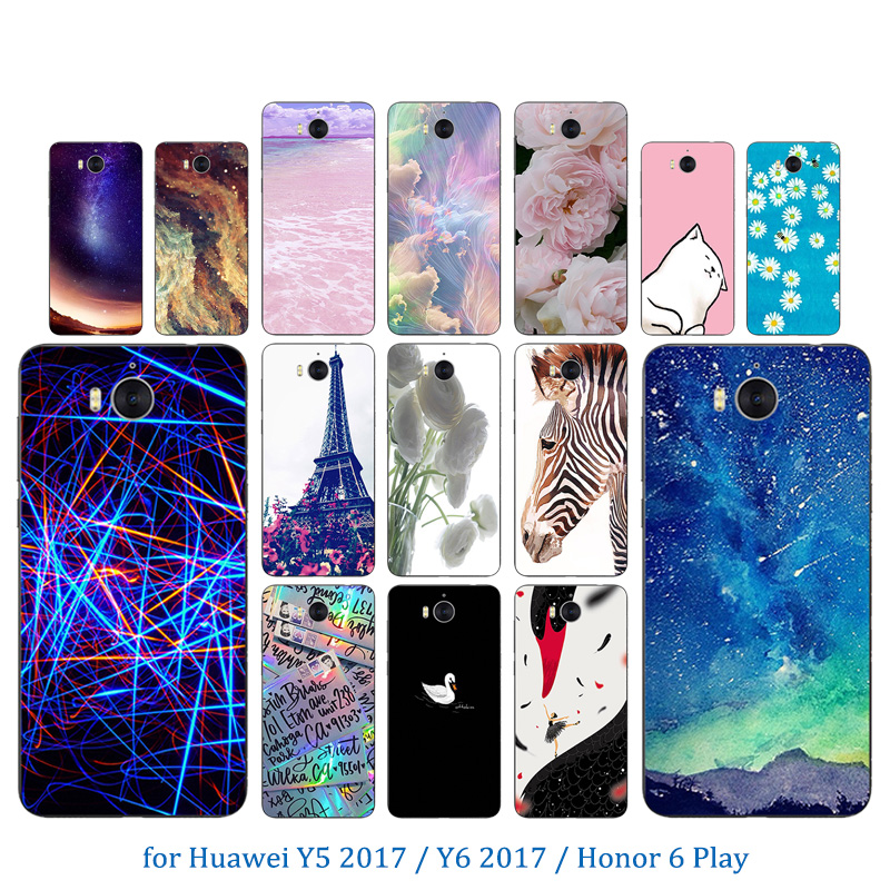 For Huawei Y5 2017 Transparent TPU Fundas Gel 5.0 inch for huawei Honor 6 Play Silicone For Huawei Y6 2017 Pinky Pattern