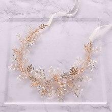 Moda altın taklidi kristal gelin Hairbands pembe çiçek yaprak bandı Tiara Headdress düğün saç takı aksesuarları SL