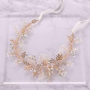 Image 1 - Mode Gold Strass Kristall Braut Haarbänder Rosa Blume Blatt Stirnband Tiara Kopfschmuck Hochzeit Haar Schmuck Zubehör SL