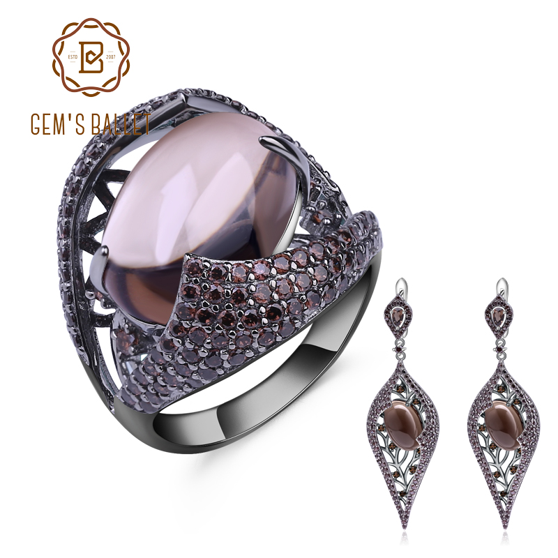 GEM S BALLET Natural Smoky Quartz Vintage Gothic Punk Jewelry Set 925 Sterling Silver Earrings Ring