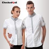 Top quality new arrival waiter uniform checkedout restaurant uniforms female work wear