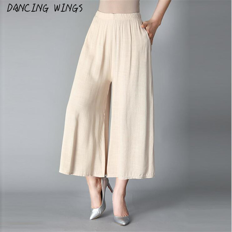 Solid Summer women's casual pants capris loose large size cotton linen wide leg pants Culottes