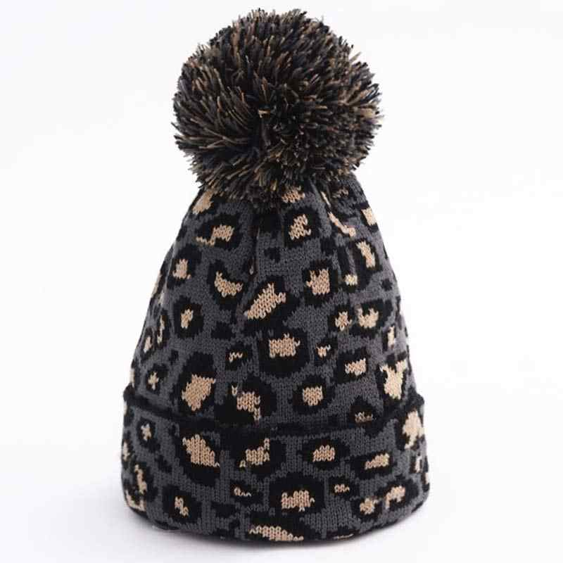 473f3cfb861c77 ... Women's Knitted Pompom Hat Leopard Knitting Yarn Beanie Caps Pink White  Grey Winter Autumn Warm Accessory