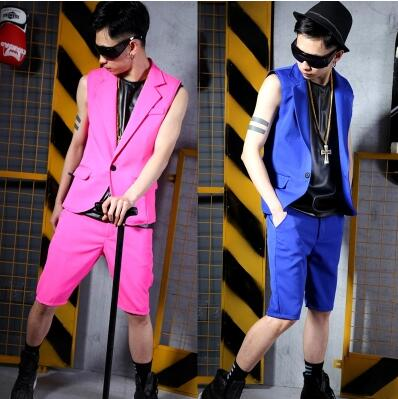 S-5XL Nightclub Men New singer fashion slim DS DJ suit vest shorts set hairstylist Plus size Male bar stage costumes clothing
