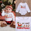 Newborn Kids Infant Baby Boys Girls Long Sleeves  Jumpsuit Bodysuit Outfits Clothes 0-18M