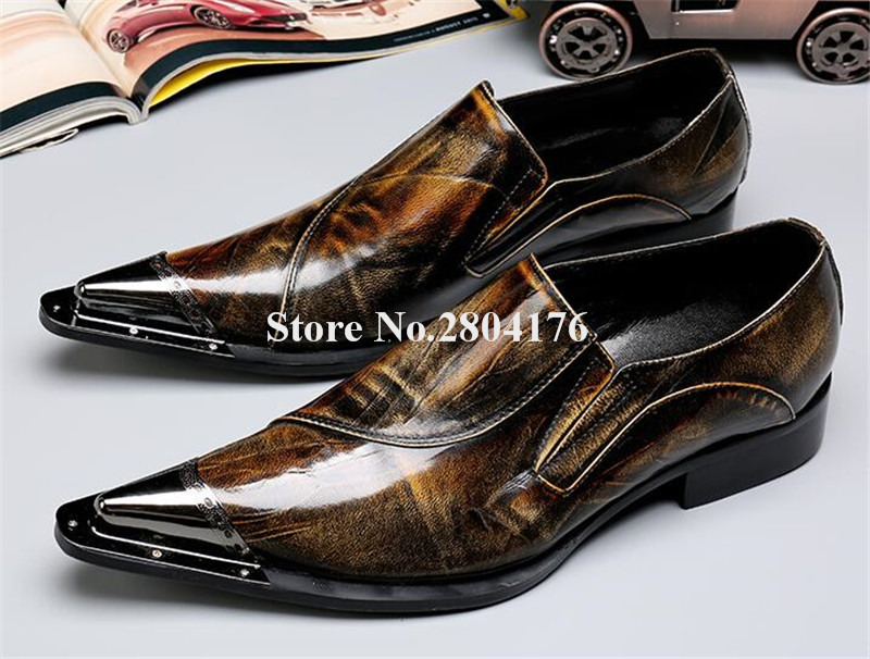 High Quality Men Metal Pointed Toe Printed Leather Flat Dress Shoes Slip-on Big Size Business Shoes Men Wedding Shoes rgs4b 315a fast fuse rgs4b 315a 660gh fast acting fuse
