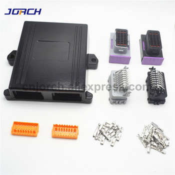 1 kit 24 pin way negro de aluminio 2 orificios para el coche GLP ecu controller case con conectores a juego
