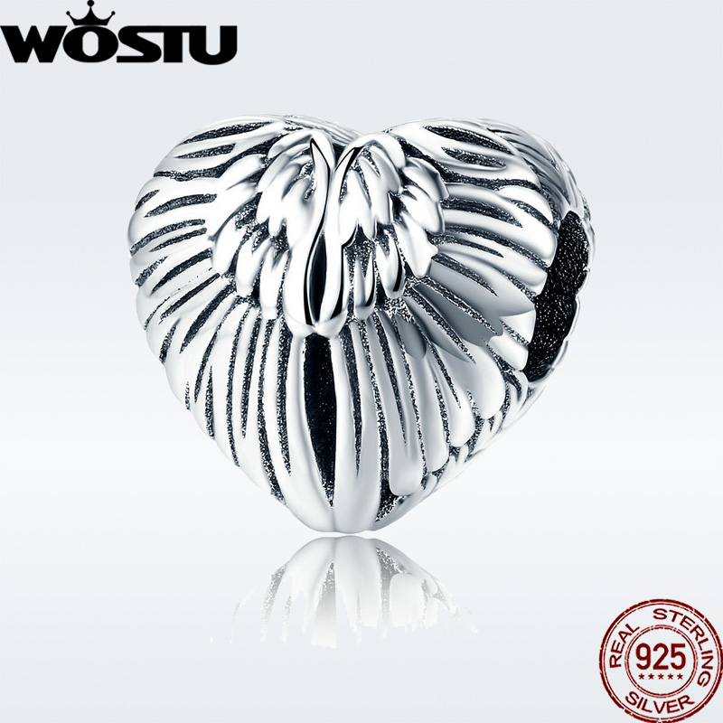 2019 Summer 925 Sterling Silver Angelic Feathers Charm Fit Original wst Beads Bracelet Necklace 정통 보석