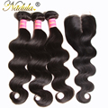 3 bundles Indian Hair Body Weave With Closure 7A indian body wave human hair bundles with closure Natural Color cheap body wave