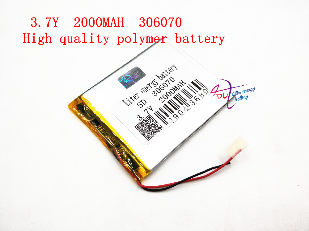 3.7V 2000mAh Lithium Polymer LiPo Rechargeable Battery cells power For PAD GPS Vedio Game E-Book Tablet PC Power Bank 306070