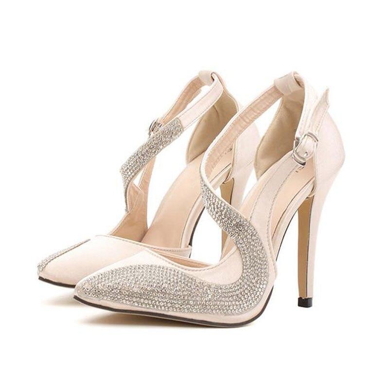 Nueva Sandalias Altos Bombas 2017 High Superficie Mujeres Seda Tacones Punta Zapatos Black De Estrecha 10 Thin Cmrhinestone Boda Heels Moda Sexy beige q6dS64C