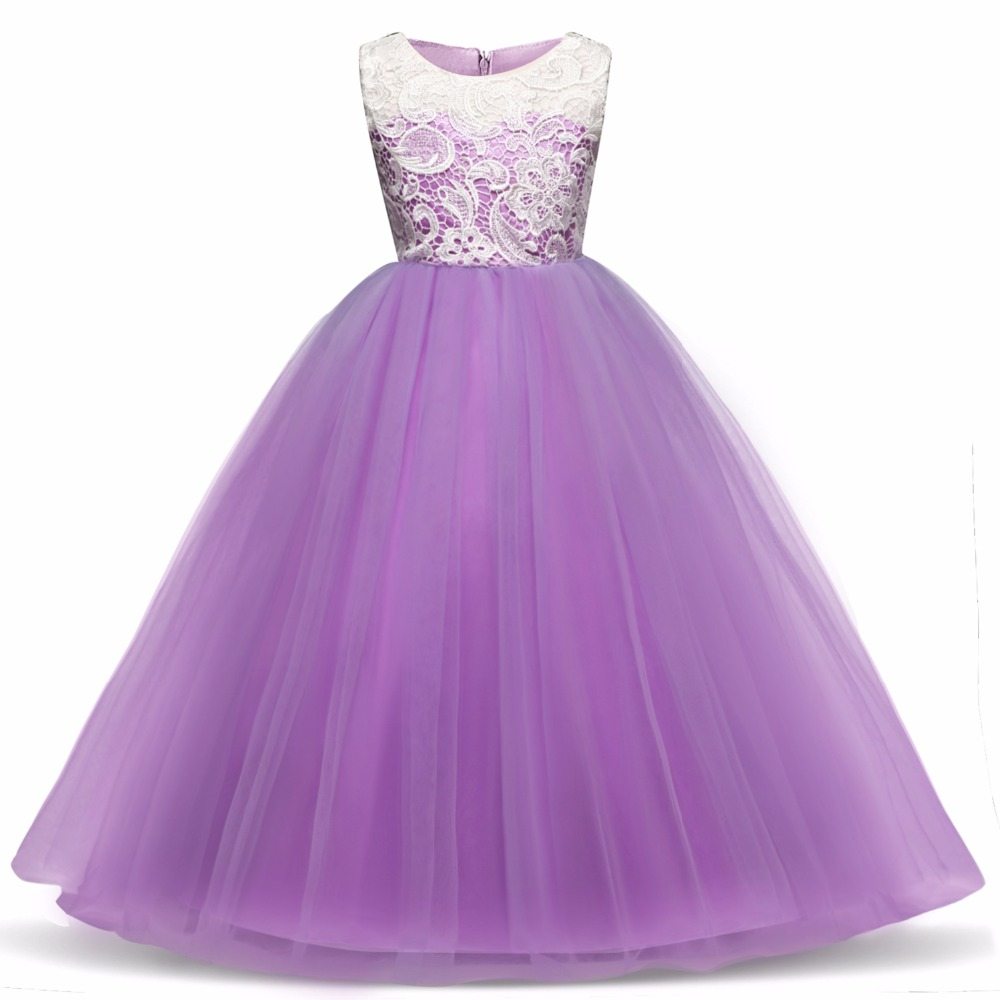 Children Princess Girl Christmas Party Dress Flower Tulle Wedding Gown Formal Wear Teen Kids Dresses For Girls Ceremony Vestidos 4