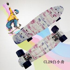 "Image 4 - Plastic Skateboard 22"" Shining color mixed Skate Cruiser Board Plastic Retro Style Banana Skateboard Light Mini Longboard"