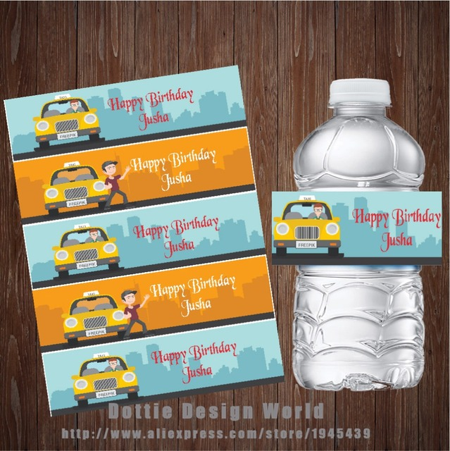 20 Pcs Lot Taxi Water Bottle Label Custom Candy Bar Wrapper Baby