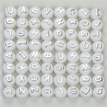 100Pcs 10mm Acrylic Beads Wholesale Round Letters With Silver Letter For Jewelry Making White Alphabets DIY Crafts