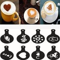 8 pçs/set Café Latte Cappuccino Café Café Livros de Arte Stencils Template Polvilhado Flores Pad Duster Spray de Café Decoração|Stencil p/ café|Casa e Jardim -