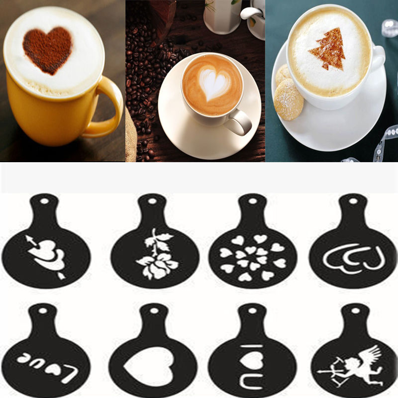 8pcs/set Coffee Latte Cappuccino Coffee Coffee Art Books Stencils Template Sprinkled Flowers Pad Duster Coffee Spray Decoration|tool decoration|tool decoration cake|tool tool - title=