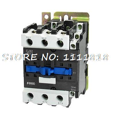 660V 37KW 3 Phase 3P NC NO AC Contactor DIN Rail Mount 380V Coil CJX2-6511 rtm876 660