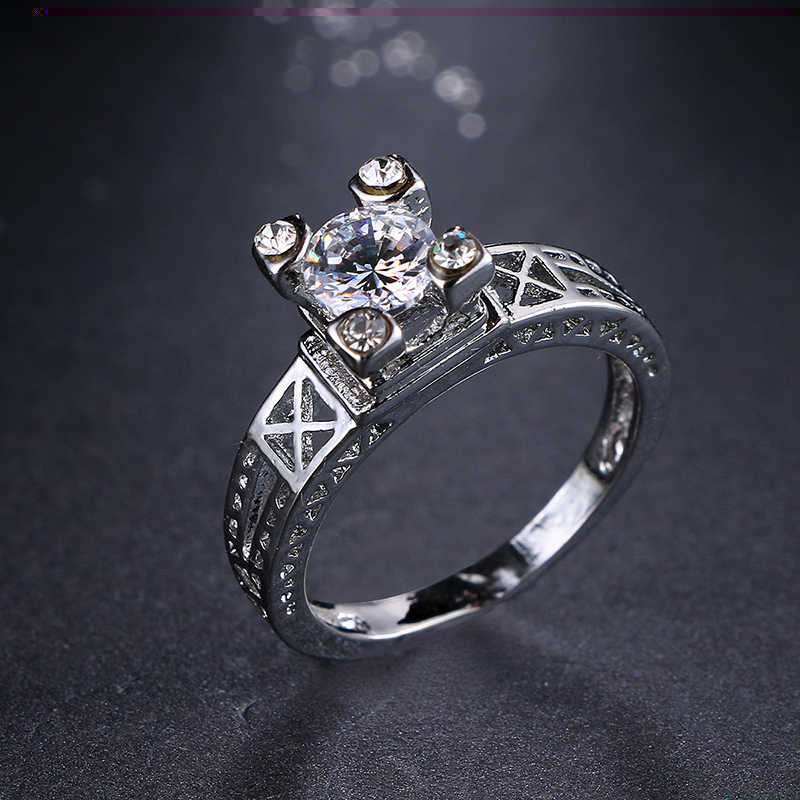 Emmaya Lãng Mạn Độc Đáo Paris Tháp Eiffel Nhẫn Đối Với Phụ Nữ Người Yêu Với Chất Lượng Hàng Đầu Zircon White Gold Màu Wedding Ring