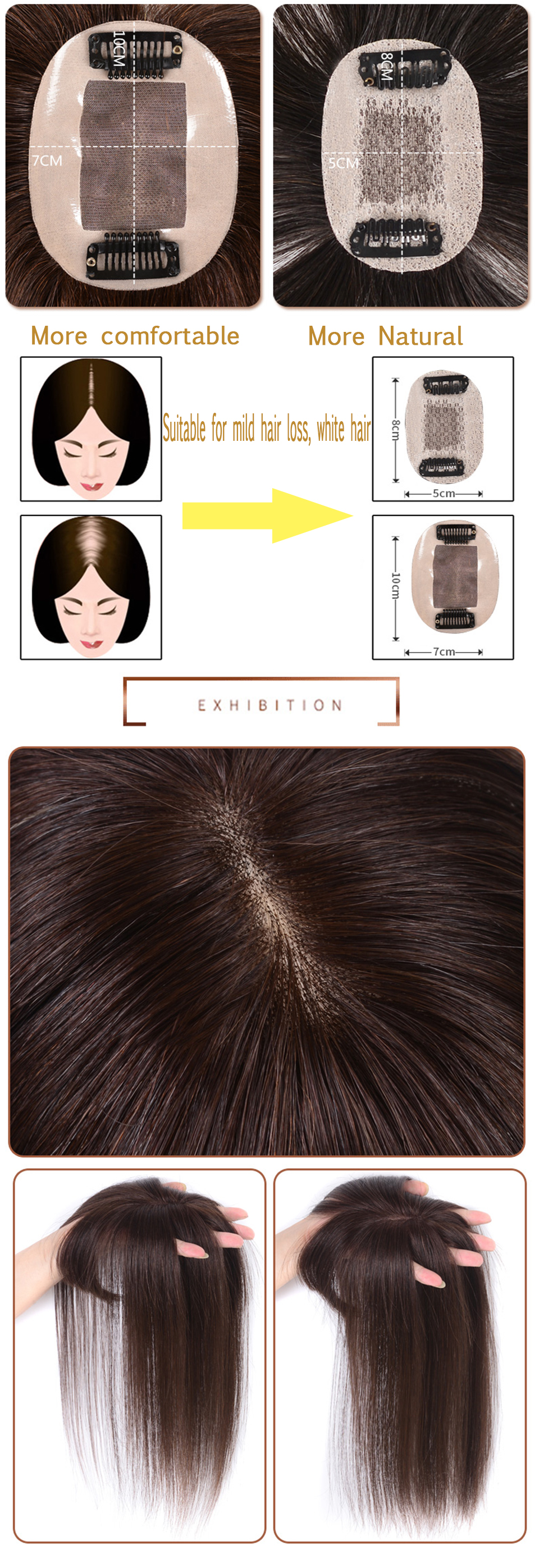 High Quality Natural Human Hair Different Sizes Invisible Seamless  Straight Hair Top Hair Clip for Adult Man/WomenHigh Quality Natural Human Hair Different Sizes Invisible Seamless  Straight Hair Top Hair Clip for Adult Man/Women