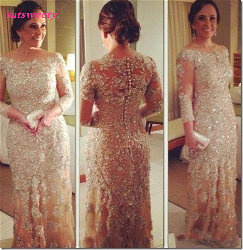Mermaid-Tulle-Vestidos-Festa-Mother-of-the-Bride-Dress-Long-Sleeve-Lace-Beaded-Appliques-Godmother-Party