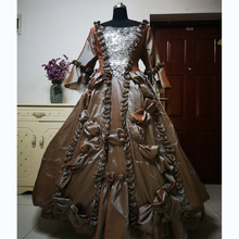купить New brown Vintage costumes 18th Duchess Retro medieval Renaissance Reenactment Theatre Civil war Victorian dress D-267 дешево