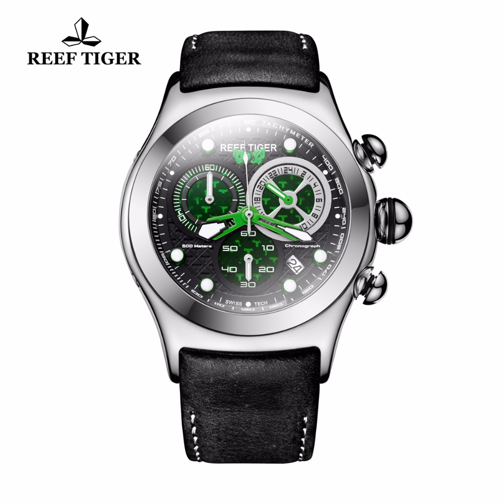 Reef Tiger Skeleton Sport Watches for Men Luminous Green Watches Date Military Automatic Watches RGA782
