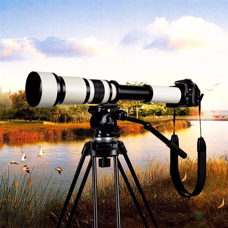 Lightdow 650 1300mm F8.0 F16 Super Telephoto Manual Zoom Lens +T2 Adapter Ring for Canon Nikon Sony Pentax DSLR Cameras
