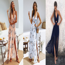 Womens Dress Summer Boho Maxi 2019 New Long Party Beach Dresses V Neck Split Sundress Floral Halter Female